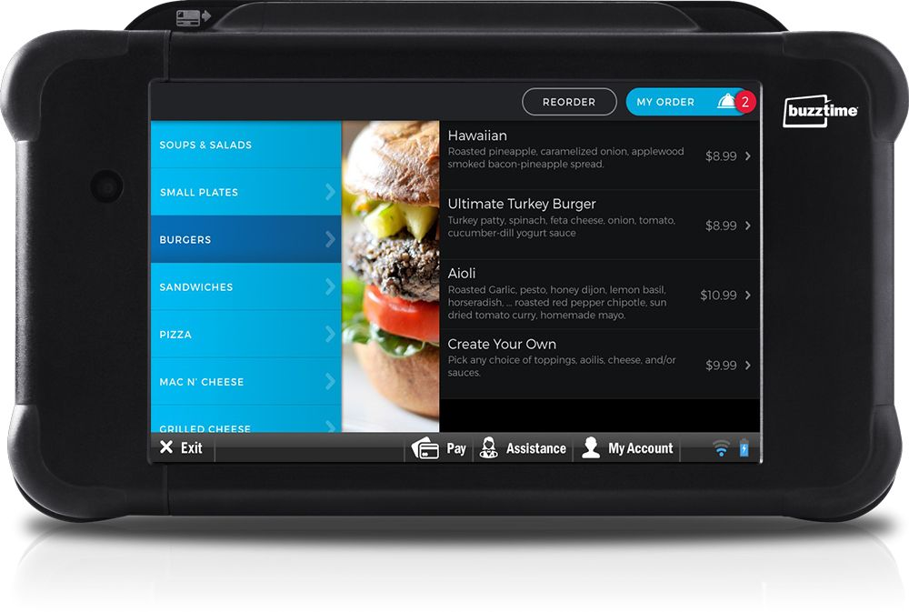 Dynamic Menu in Tablet with Burgers Selected and Choices of burger styles