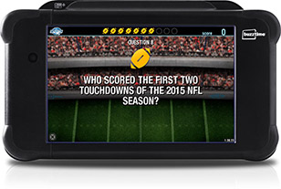 Play fun football trivia games on the Buzztime tablet