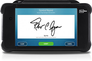 Buzztime Tablet allows a signature for digital receipts