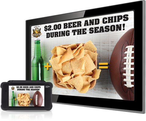Use digital signage in your bar to display your specials