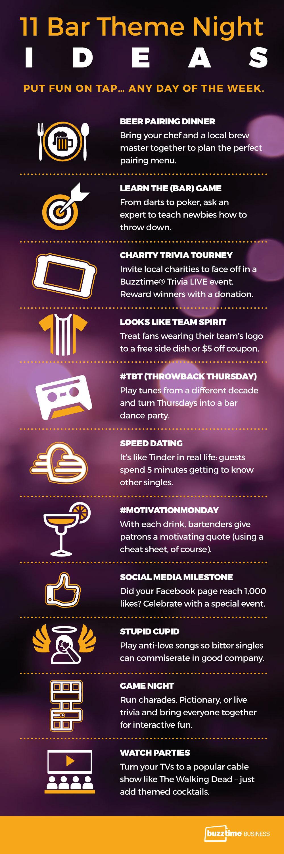 11 Bar Theme Night Ideas Infographic Buzztime